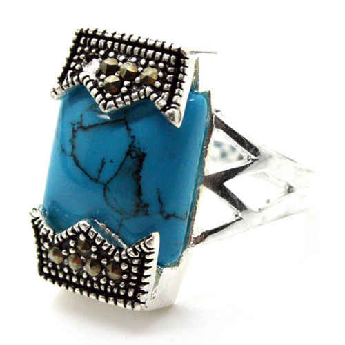 good Bridal Wedding 12*20mm Fashion 925 Sterling Silver Blue stone Turquoiser Marcasite Ring Size 7/8/9/10