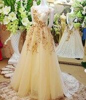 Линии этаж Длина без рукавов кружевные цветы Блёстки Для женщин вечернее платье для мусульманских Высокое качество романтические платья ...