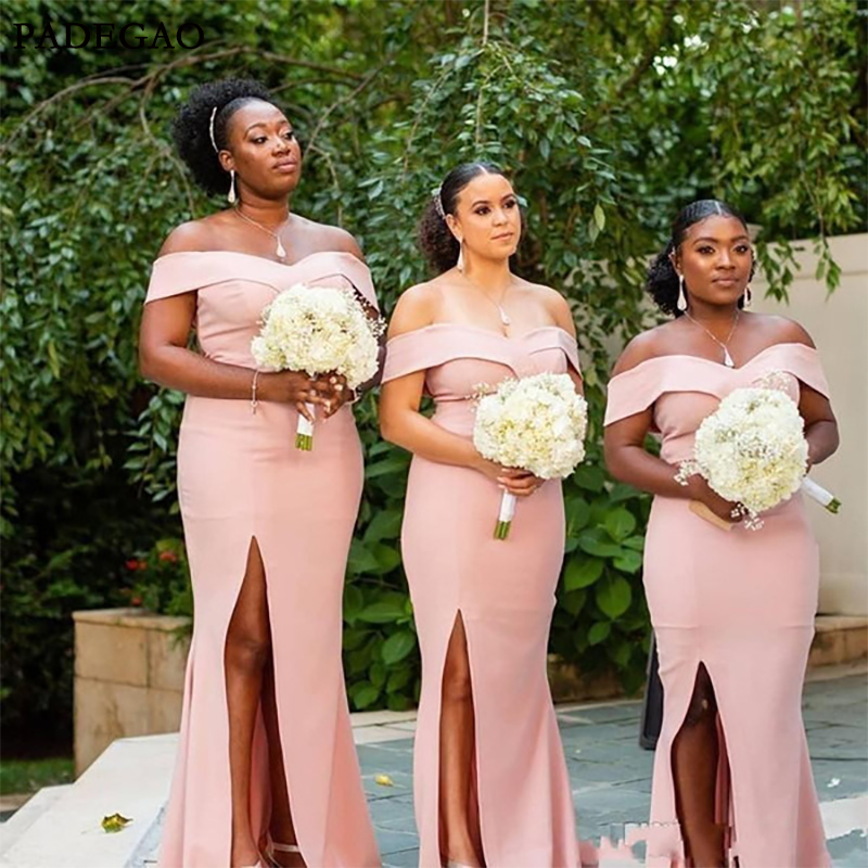 South Africa Mermaid Bridesmaid Dresses Satin Long Off Shoulder High Split Plus Size Wedding Guest Dress Bridal Bridesmaid Dress