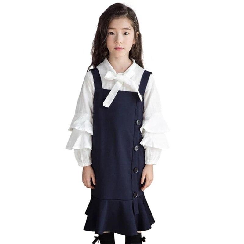 2019 longue robe âge pour 4-12 ans enfants filles vêtements 2 pièces/ensembles printemps et automne T-shirt + sangle robe grandes filles vêtements