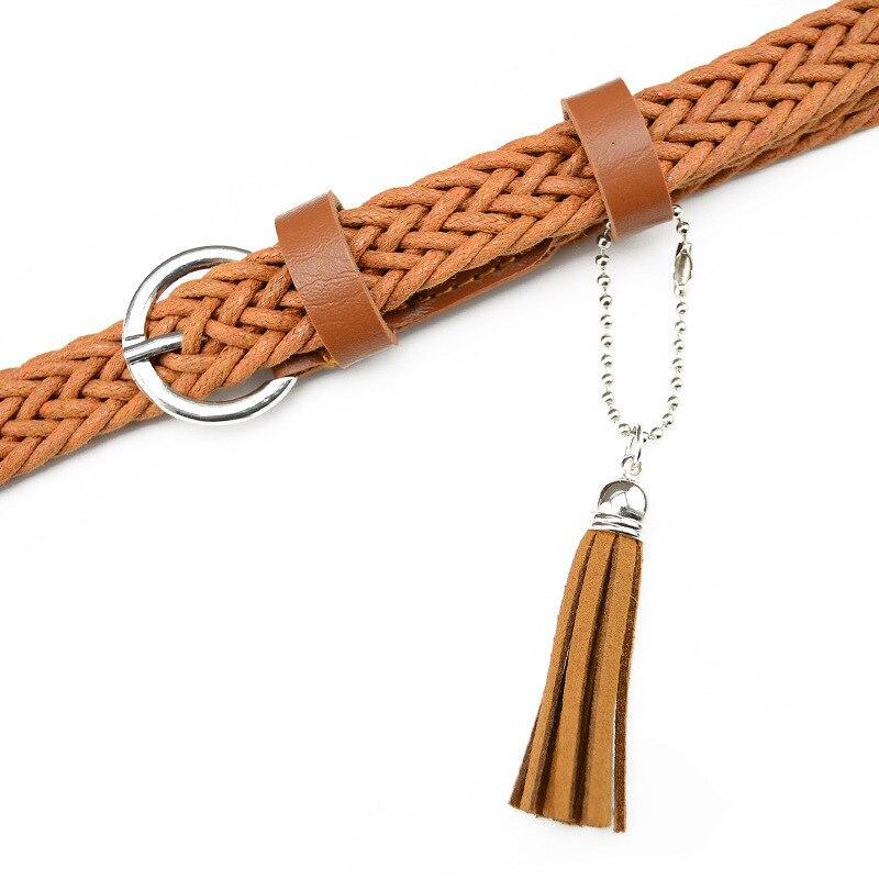 Hot Sale Brand Weaving Tassel Pigskin Leather Thin Female Belt For Women Decoration Dress Coat Cummerbunds Lengt 105cm 5