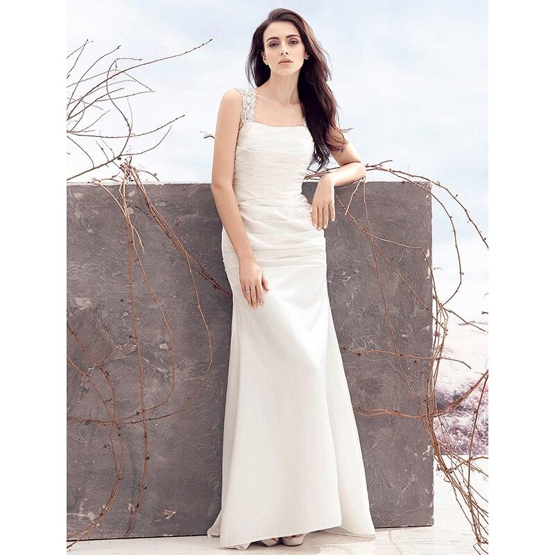 Cowl Neck Silk Sheath Wedding Gowns: LAN TING BRIDE Sheath Column Wedding Dress Square Neck