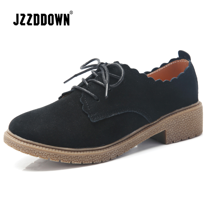 JZZDDOWN   Suede   genuine   leather   Oxford shoes for women Plus Size Women   leather   shoes moccasins Ladies Female women's shoes woman