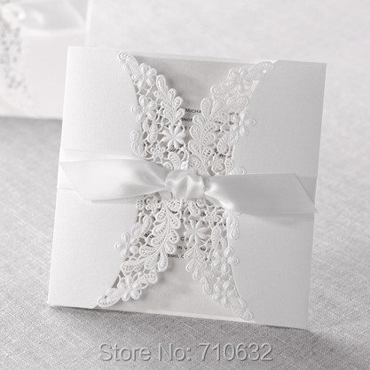 White Cotton Paper Embossing Laser Cutting Wedding Card