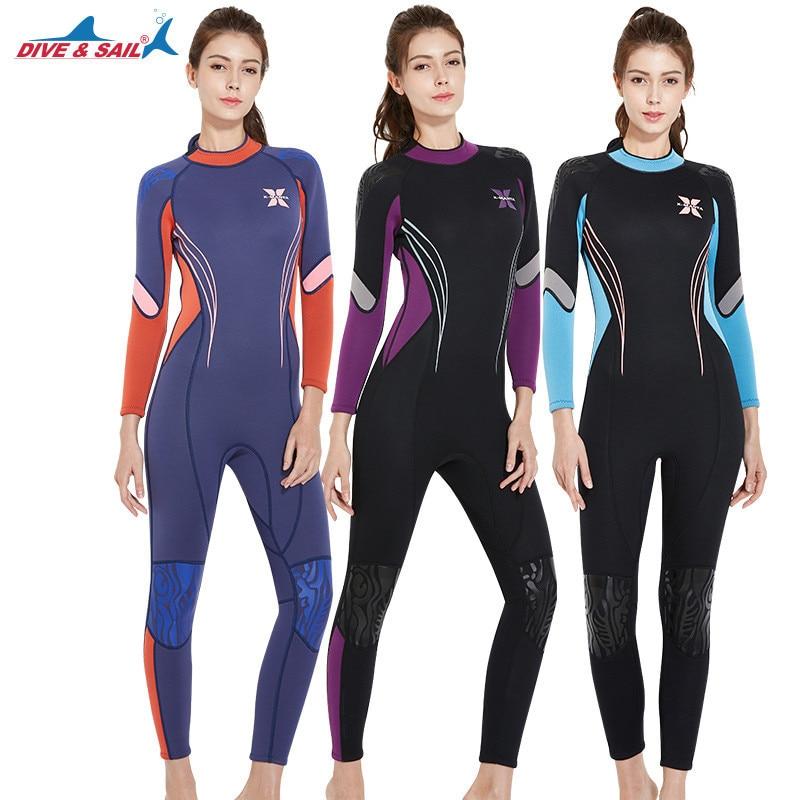 Plongée & voile 3mm à manches longues combinaison de plongée femmes plongée en apnée surf maillots de bain filles UV protection solaire combinaison maillots de bain éruptions cutanées