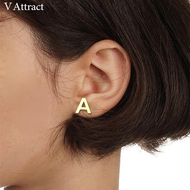 V Attract Custom Jewelry Initial Earrings For Women Personalized Number Stud Earring Handmade Alphabet Name Letter