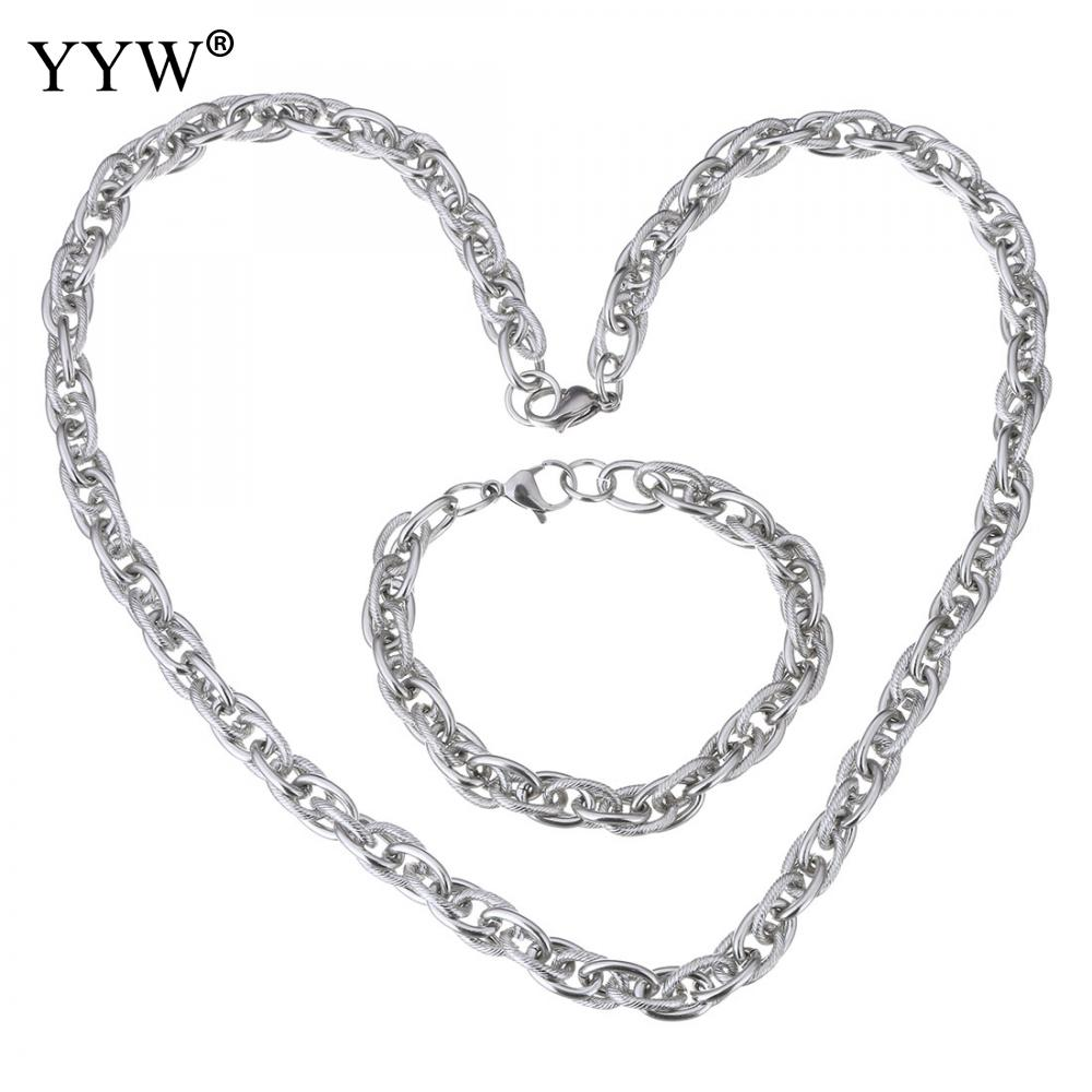 10sets/Lot Woman Original Color 13x9mm Stainless Steel Jewelry Set Bracelet Necklace Byzantine Charming Chain charming color 100