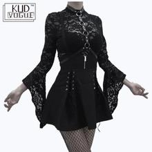 Gothic Dark Lolita Dress Lace Bodysuits Vintage Women Punk Overalls 2pcs Suits Sets Cosplay Costume