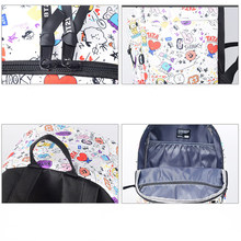2019 Hot Multicolor Girls Kpop BTS Bangtan Boys Schoolbag Fashion Cute Printed Teenager Girls Fans Gifts Plush Bag(China)