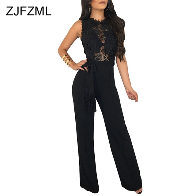 0befd3a7b29 ZJFZML Sexy Club Black White Red Lace Jumpsuit Women Sleeveless O Neck  Hollow Out Party Romper Sexy See Through Wide Leg Overall