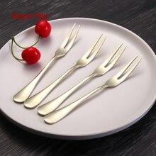 Hot Luxury Fruit Fork Stainless Steel Salad Fork Set Thick Flatware Cutlery Set Fruit Picks Salad Dessert Fork kichen accessorie