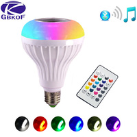 E27 Смарт RGB/RGBW Беспроводной Bluetooth Динамик лампы работы в режиме воспроизведения музыки затемнения светодиодный лампа, лампа с 24 клавишами пу...