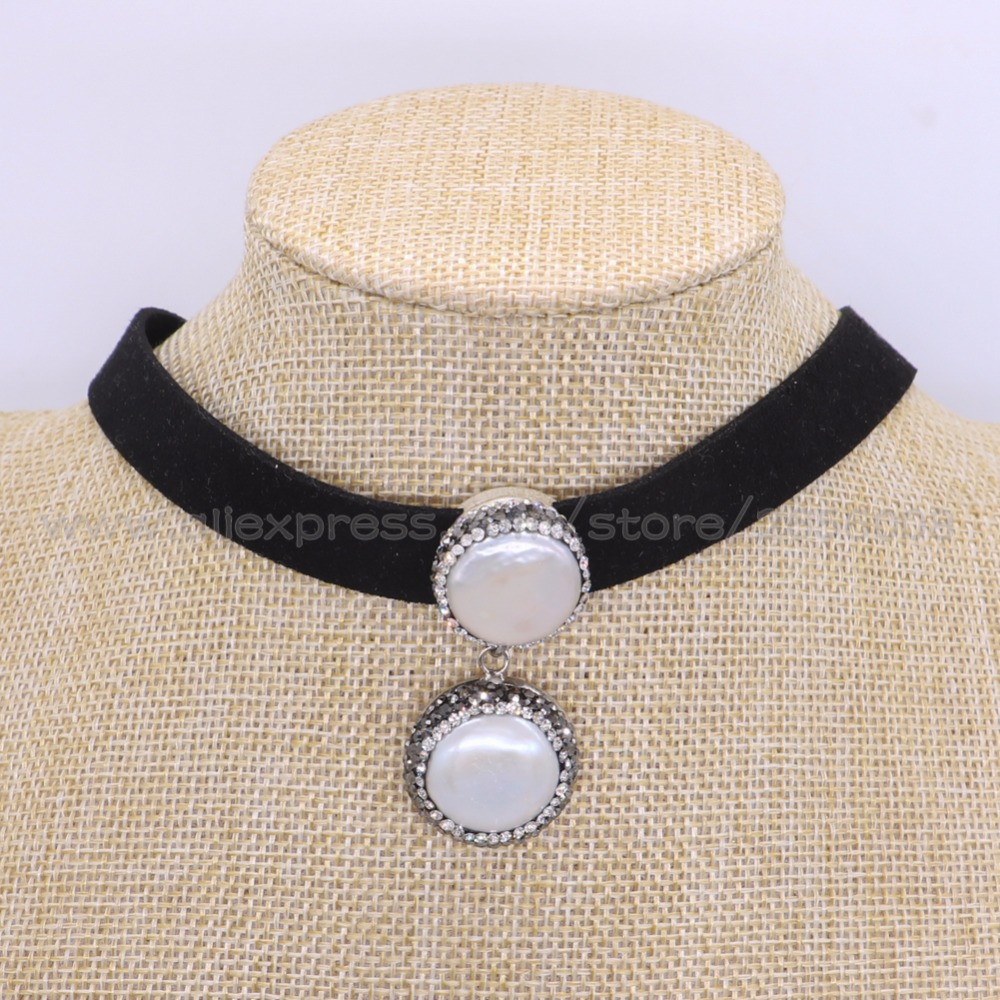 Fashion Velvet choker necklace Natural pearl pendant with velvet chain simple neklace Handcrafted jewelryc Gems jewelry 1766