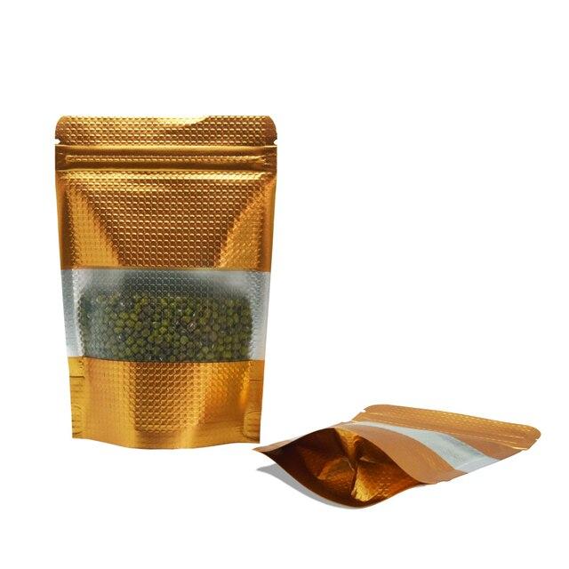 100 шт/партия, стоячий пакет из майлара с замком-молнией для окна, Doypack, позолоченная алюминиевая фольга Pacakge, сумка на молнии, упаковочные пакеты 9*13 см