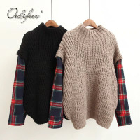 Ordifree 2017 Autumn Winter Women Knitted Sweater Pullover Jumper Pull Femme Plaid Long Sleeve Oversized Turtleneck