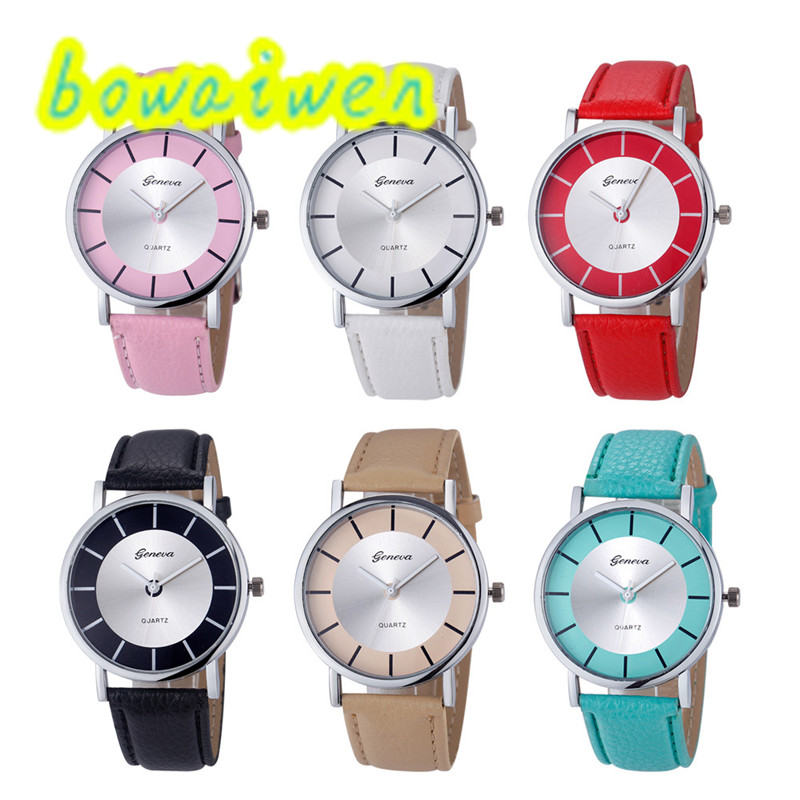 bowaiwen 8009 Women Fashion Retro Dial Leather Analog Quartz Wrist Watch Watches