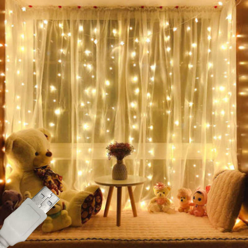 USB 5v 3x3M 300 leds Holiday fairy lights garland LED string lights decoration christmas outdoor festoon slingers curtain tinsel