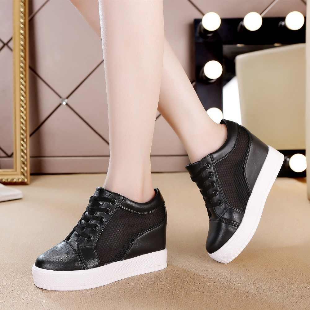WomenWedge Plattform Gummi Brogue Leder Lace Up High heel 7 cm Schuhe Spitz Zunehmende Creepers Weiß Silber Turnschuhe