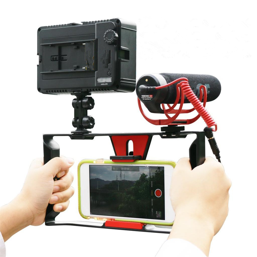 Phone Video Rig Stabilizer + Video Mic + LED Light for Film Making Recording
