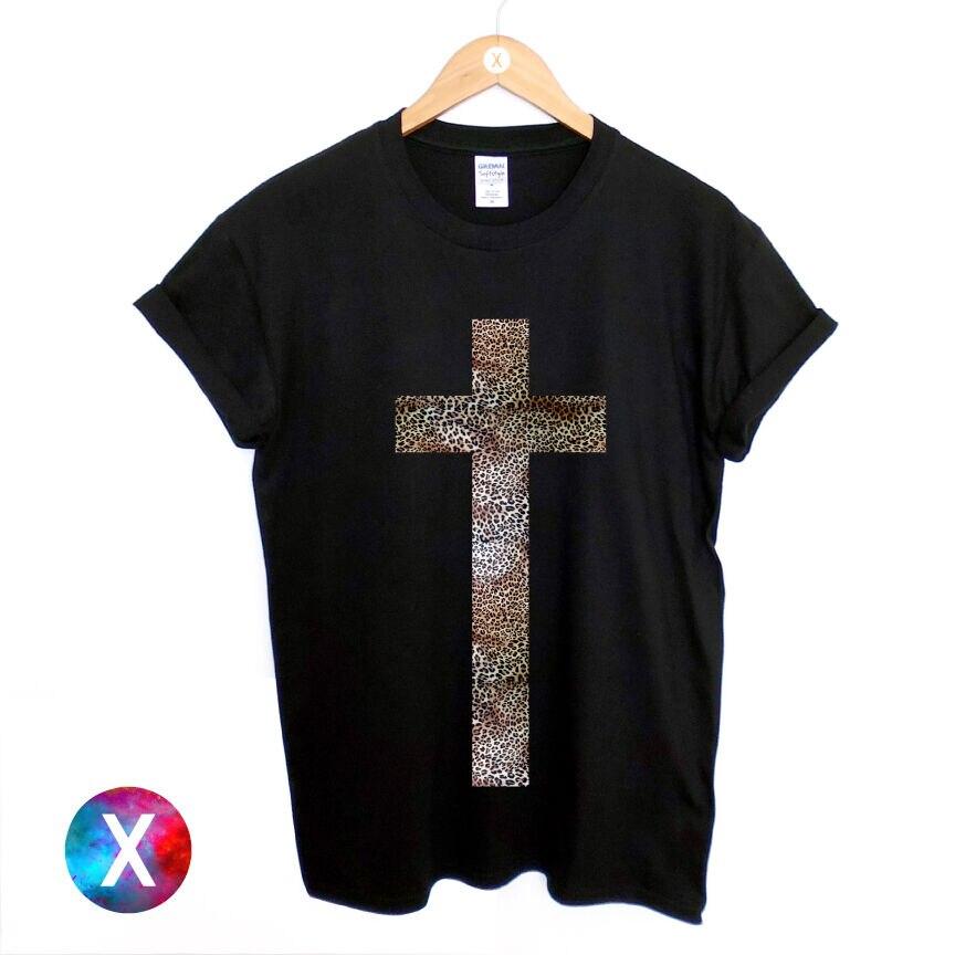 Мужская черная футболка с принтом в виде креста, хипстерская футболка с леопардовым принтом, Топ унисекс, 2019