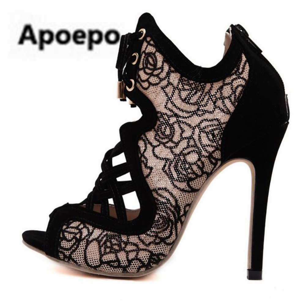 Apoepo ladies sandals 2018 summer embroider Breathable sexy high heels sandals women lace up black shoes peep toe ankle boot apoepo brand black luxury diamond sandals women sexy pointed toe string bead ladies shoes summer high heels sandals shoes 2018