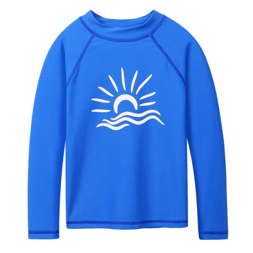 Baohulu Biru Lengan Panjang K Berlaku Anak Laki-laki Baju Renang Berjemur Kemeja UPF 50 + Swimsuit Girls Berenang Ruam Penjaga Pantai memakai