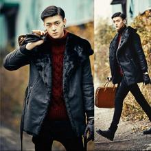 Black warm Faux Mink fur coat mens leather jacket men coats Villus autumn winter thermal outerwear british style S - 3XL