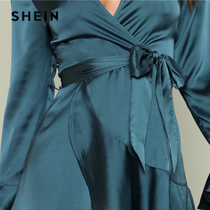 Image 4 - SHEIN Blue Party Elegant Sexy Split Back Ruffle Trim Overlap Front Belted Deep V Neck High Waist Solid Autumn Dress For Women