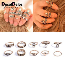10pcs/Set Bohemia Flower Crystal Rings Set Gold Silver Knuckle Finger Midi for Women Party Jewelry Gift