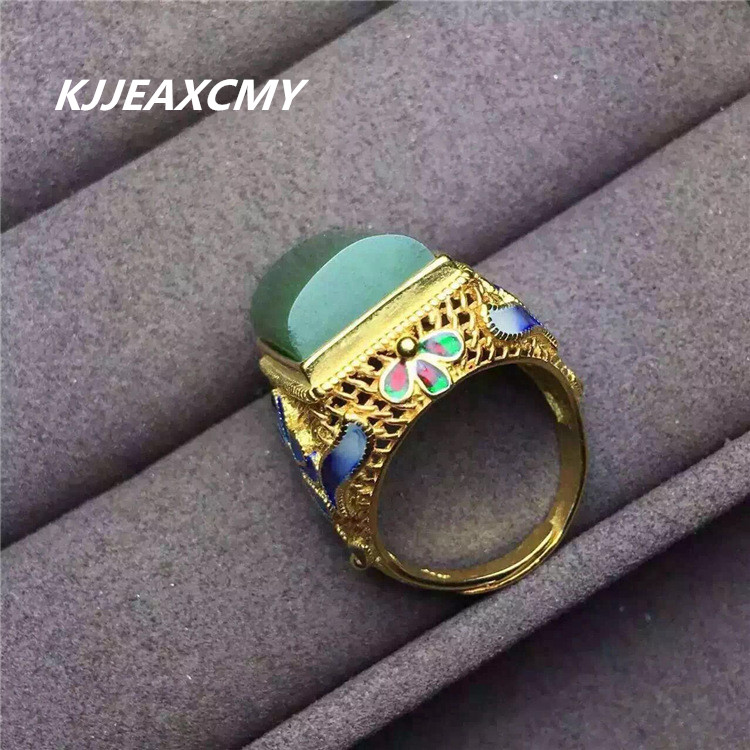 KJJEAXCMY 925 silver inlaid natural and Tian Yu rings Mens and female adjustable Jasper rings semipotent rings and modules