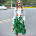 High Quality Women's Runway Set 2017 Spring Summer Woman Long Sleeve Birds Embroidery Blouse and Print Skirt Suit Set Outfits
