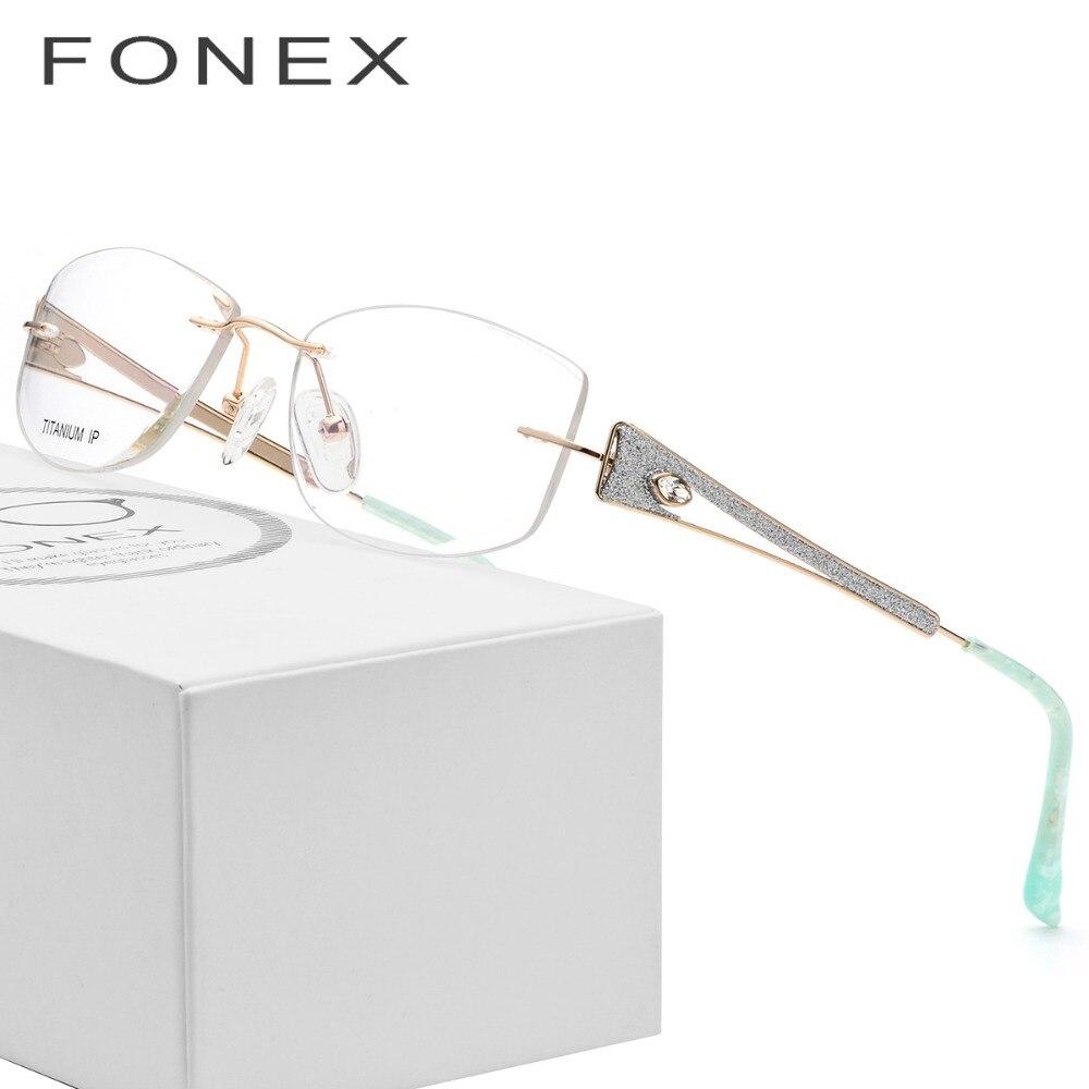 B Titanium Glasses Frame Women Rimless Ultralight Luxury Crystal Trim Diamond Frameless Prescription Optical Eyeglasses Eyewear