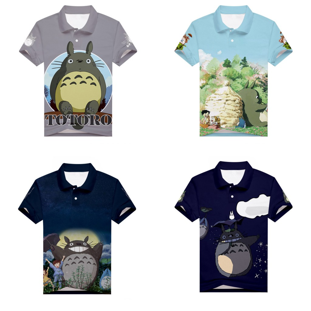 Anime My Neighbor Totoro Polo Shirt 3D Print Men's Sport Teenager Golf Shirt Casual Short Sleeve Unisex Summer Tennis Shirt Tees