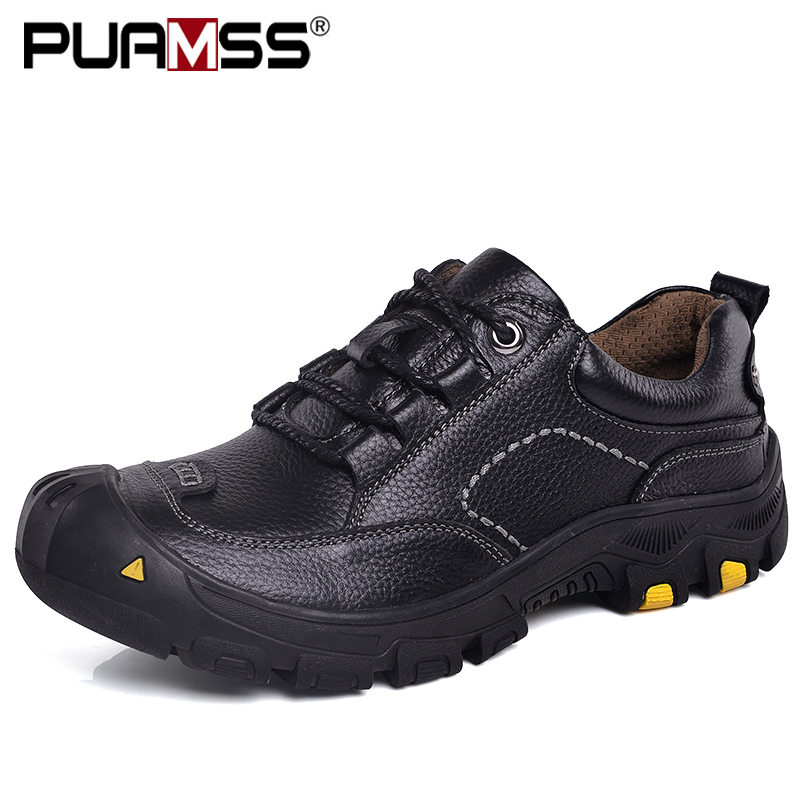 2019 Men Shoes Genuine Leather Casual Shoes High Quality Outdoor Work Rubber Sole Sneakers Men Safety Shoes Zapatillas Hombre