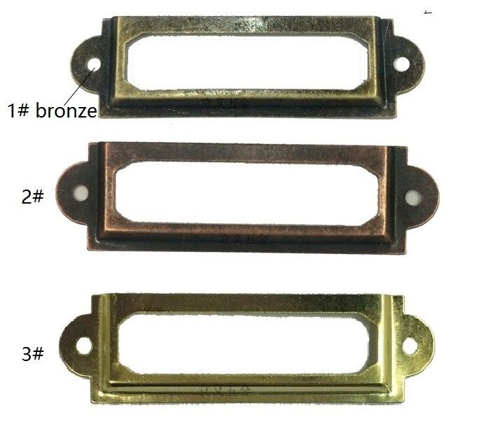 40pcs 60*17mm Label Brand Gold Brass Bronze Red Ancient Copper Optional Label Vintage Cabinet Card Holder Accessories Metal nervilamp 710 2a gold bronze