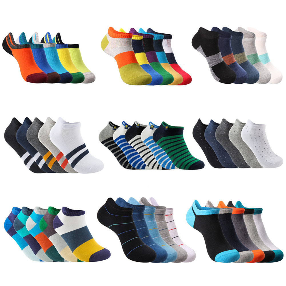 New Summer Spring Autumn Pier Polo Brand Fashion Men Ankle Socks Casual Colorful Pure Cotton Slipper Socks (5Pairs/lot)
