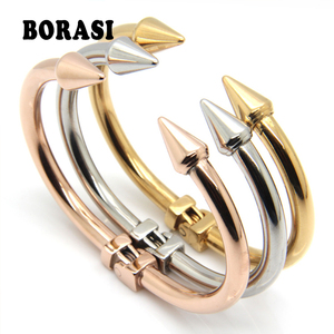 Top Quality Stainless Steel Jewelry Conical Arrows Bracelets & Bangles Wholesale Gold Color Cone Nail Cuff Bracelet For Women(China)