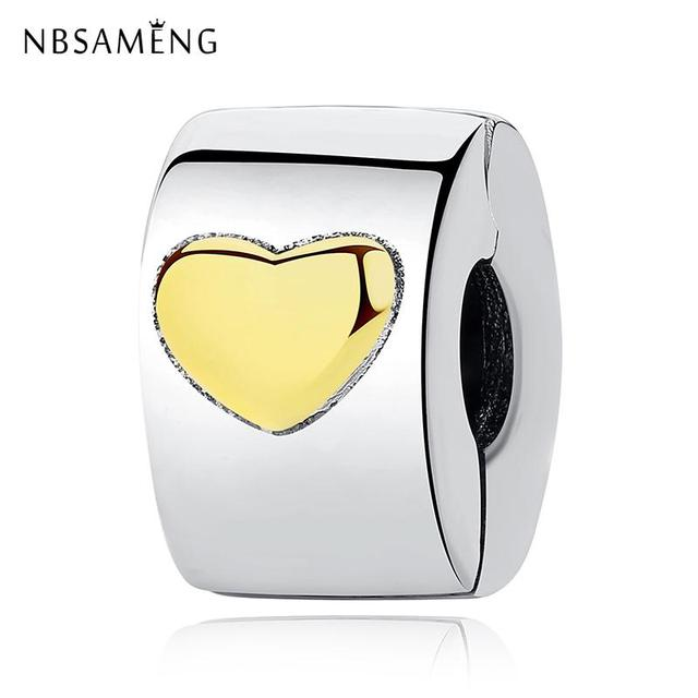 ce4df97c3f1 New Authentic 925 Sterling Silver Charm Bead Classic Heart Clip Stopper  Love Charms Gold Fit Pandora Bracelets Women DIY Jewelry