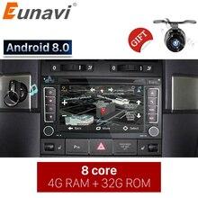Eunavi 2 Din Android 8,0 автомобиль DVD плеер для VW/Volkswagen Touareg/транспортер T5 2014 с Canbus Wi-Fi gps навигации радио