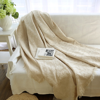 100% Cotton Rhombus Knitted Sofa Towel Blanket Warm Beige Cover Blankets Living Room Bedroom Rug Soft Carpet Bedspread Sheets