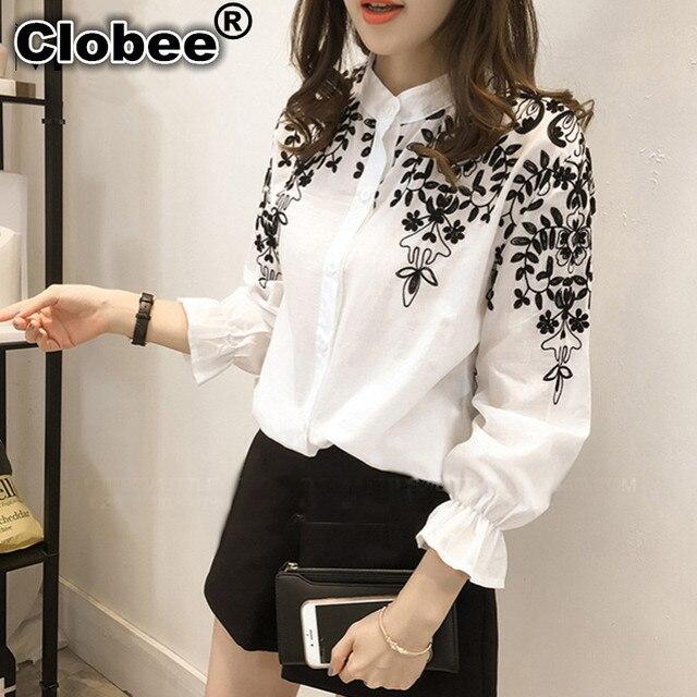 6ebb1d20ec Clobee 4XL 5XL Plus Size Mulheres Shirt 2018 Primavera Coreano blusa Floral  Bordado Gola de Manga
