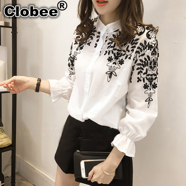 03099de17c37 Clobee 4XL 5XL camisa de talla grande para mujer 2018 primavera coreana  blusa femenina bordado Floral
