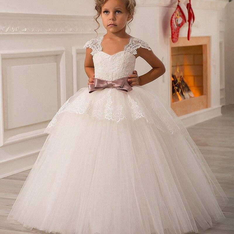 2-13 Ans Nouveau Off Épaule Décor Fleur Perles Fille robe de Bal En Dentelle Appliques Moitié Manches Enfants Première Communion Robes