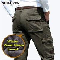 SHIFUREN Thicken Fleece Warm Winter Cargo Pants Men Multi pocket 30 44 Plus Size Casual Baggy Cargo Pants Solid Army Green Khaki