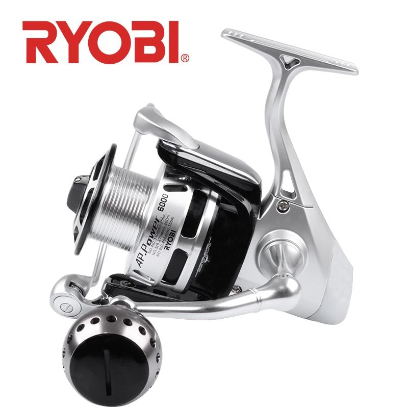 18 Original RYOBI AP puissance II6000 8000 10000 moulinet de pêche en rotation plein métal CNC rapport de vitesse 5.0: 1 puissance de traînée 10 kg 6BB eau salée