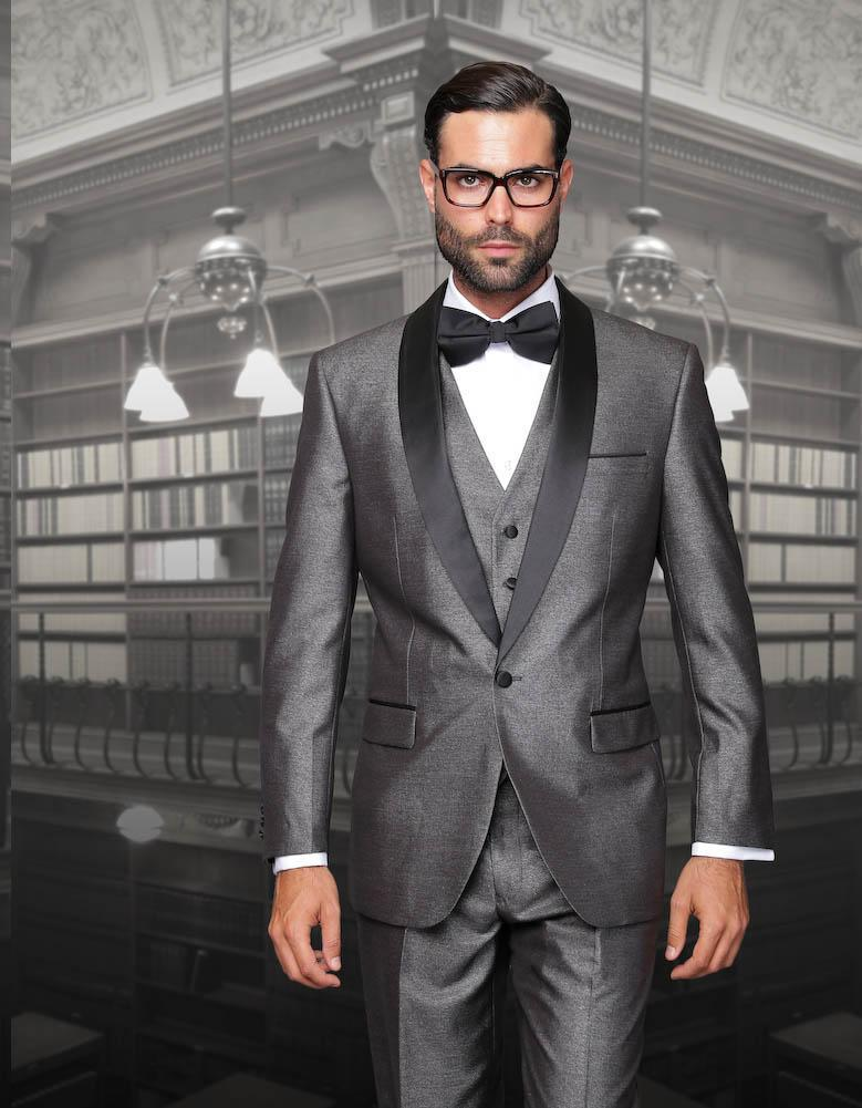 2018 Custom Made Grey Groom Suits Black Lapel One Button