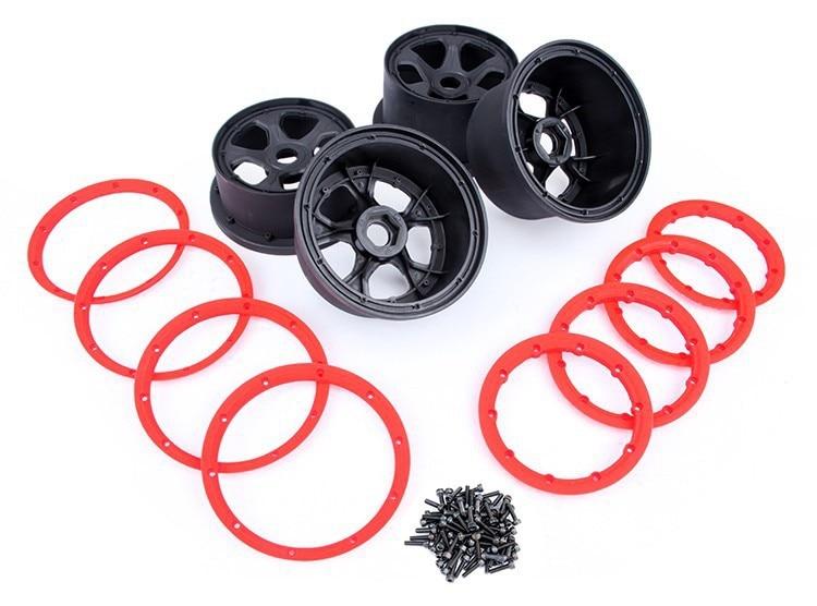 LOSI 5IVE-T rim set. 4pc rim. 8pc beadlock baja metal beadlock ring set 8pc 4pc inner 4pc outer sliver color