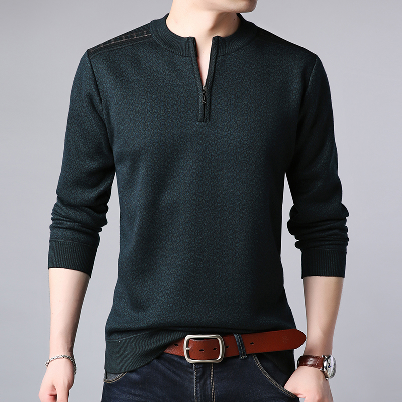 2019 New Fashion Brand Sweater Men Pullovers Solid Color Slim Fit Jumpers Knitting Warm Autumn Korean Style Casual Men Clothes