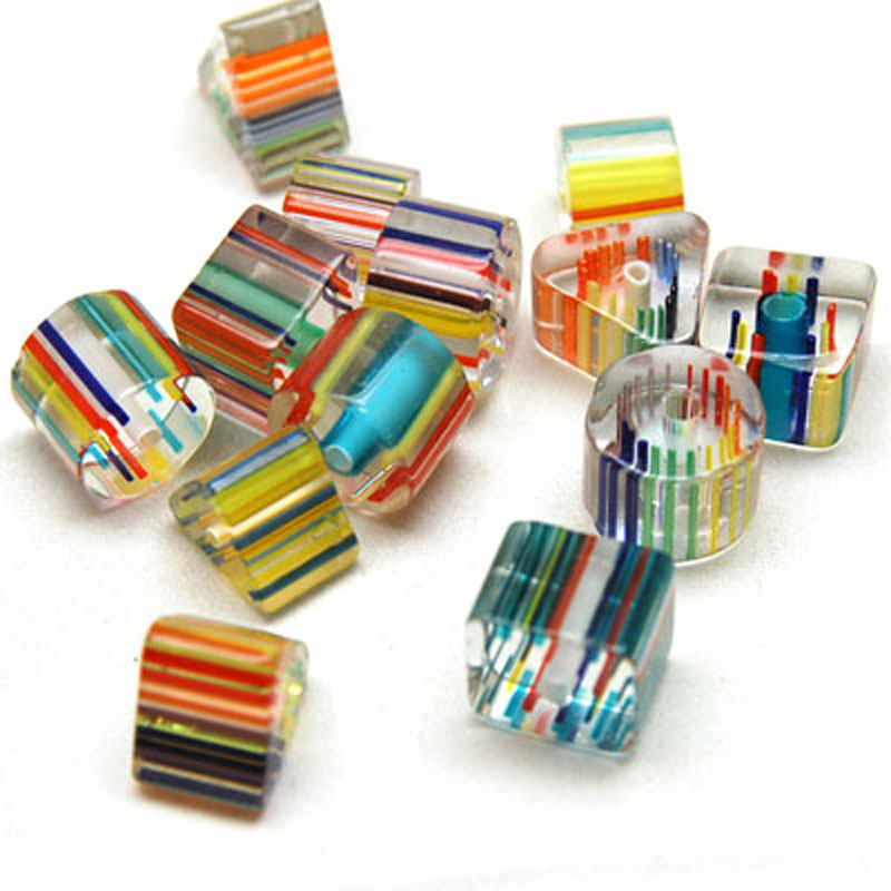 Assorted cane glass beads glass cane beads 5 color, Sold per pkg of 50g ...