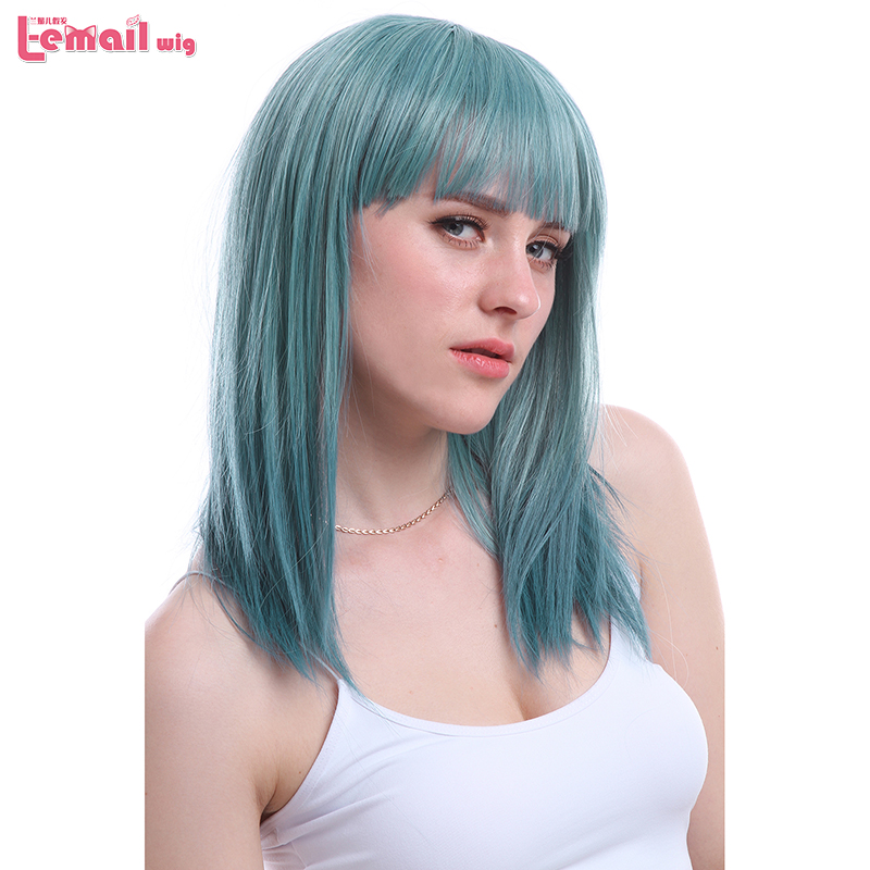 L-email Wig New Women Wigs Color Cyan 50cm/19.7inches Medium Long Straight Heat Resistant Synthetic Hair Perucas Cosplay Wig